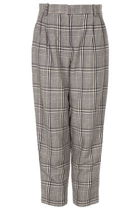 Check Contrast Tapered Trousers - Trousers  - Clothing  - Topshop