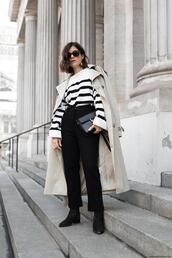viennawedekind,blogger,sweater,jewels,bag,pants,shoes,ankle boots,trench coat,black pants
