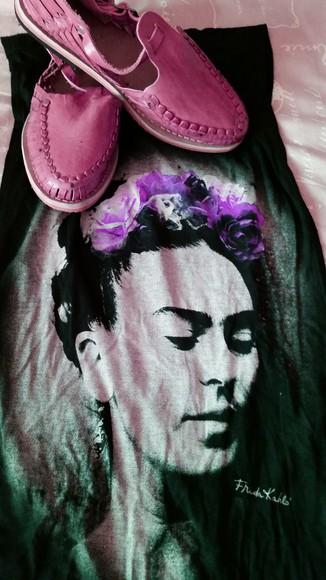 pink shoes blouse frida kahlo women tshirts huarache mexico shirt forever 21