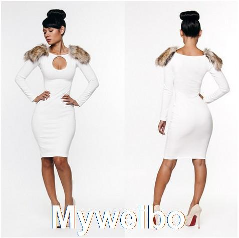 Free shipping  vestidos  Fashion wool slim hip one piece dress slim sexy elegant white bandage evening dress wholesale on Aliexpress.com