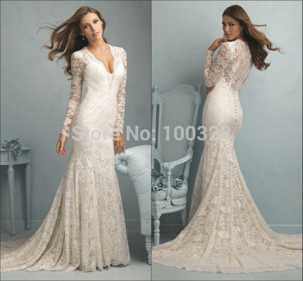 Aliexpress.com : buy hot sale sexy v neck appliques custom made vestido de noiva long sleeve zipper mermaid lace wedding dresses 2015 free shipping from reliable wedding dresses 16 suppliers on rose wedding dress co., ltd
