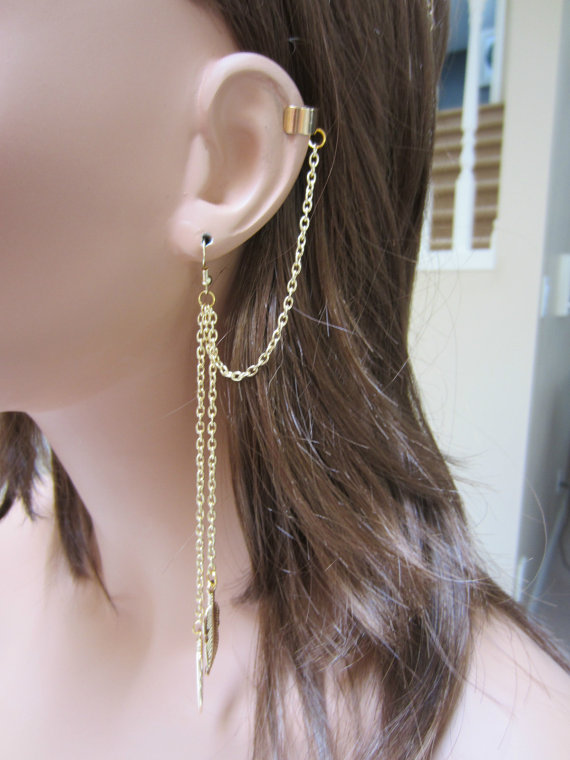 Gold Chained Double Metal Feather Leaf dangle by HandyMandyStore