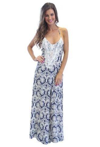 dress multi colored print crochet maxi dress