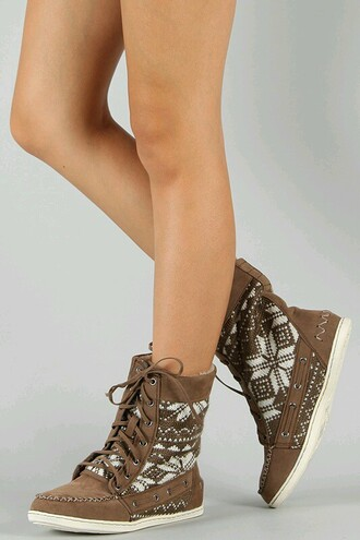 moccasins warm boots short aztec design cold