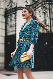 mypeeptoes,blogger,dress,belt,shoes,bag,jewels,gold belt,belted dress,gold bag,clutch,blue dress,printed dress,turquoise,tumblr,teal,mini dress,three-quarter sleeves,metallic clutch,wrap dress,earrings,hoop earrings,jewelry