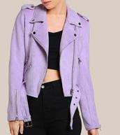 jacket,girly,biker jacket,suede,suede jacket,purple,zip,zip up jacket