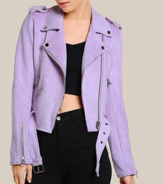 jacket girly biker jacket suede suede jacket purple zip zip up jacket