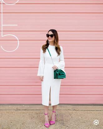 dress tumblr midi dress slit dress white dress bell sleeves bell sleeve dress bag green bag sunglasses earrings sandals sandal heels high heel sandals