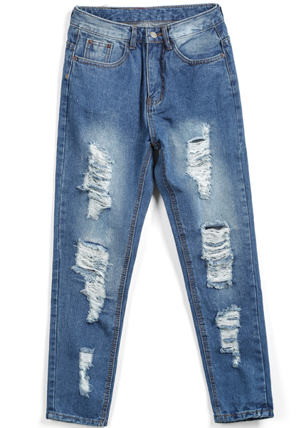 Pockets bleached ripped denim pant