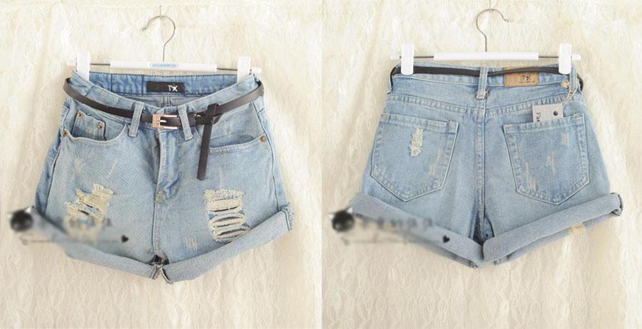 Fashion womens girls vintage denim high waist light blue jean shorts hot pants