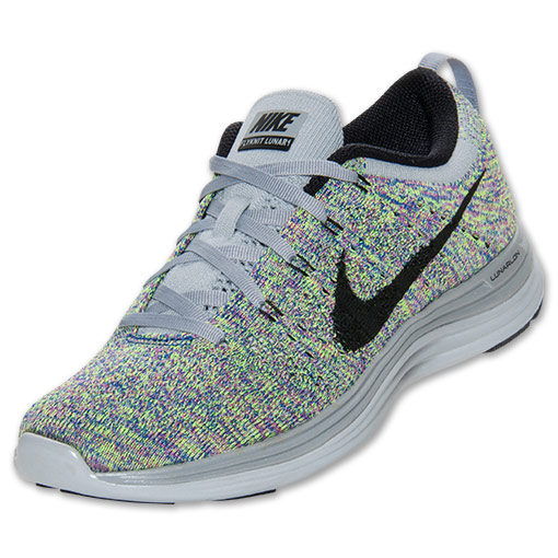 Women's Nike Flyknit Lunar 1  Running Shoes | FinishLine.com | Wolf Grey/Black/Royal Club Pink