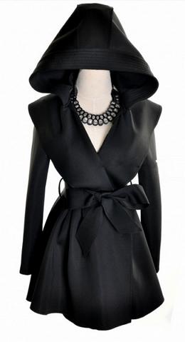 Hooded windbreaker long slim trench coat