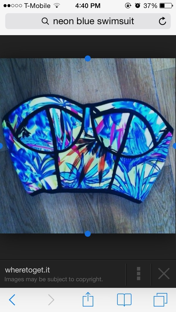 swimwear top royal blue crop top floral