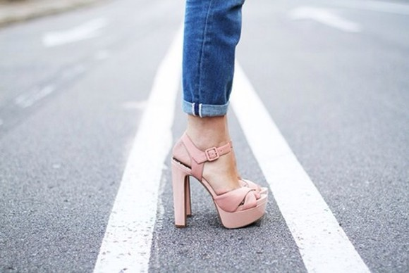 rose gold pink shoes high heels