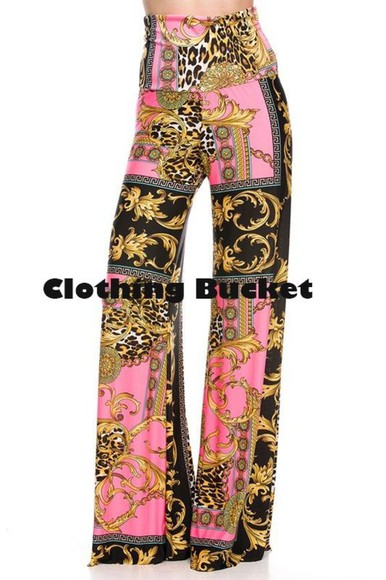 miami palazzo palazzo pants south beach florida wide leg high waisted pants formal pants casual pants gold print pink print