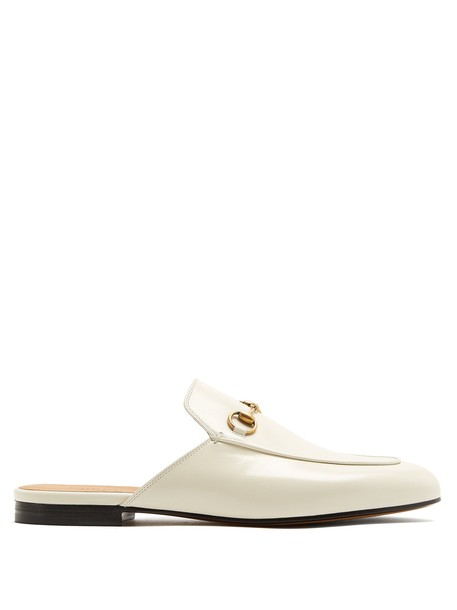gucci backless loafers leather white shoes