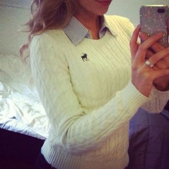 blouse white knitwear brand moose american knit abercrombie & fitch sweater