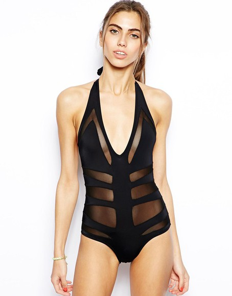swimwear black swimwear bikini black swimsuit one piece swimsuit body