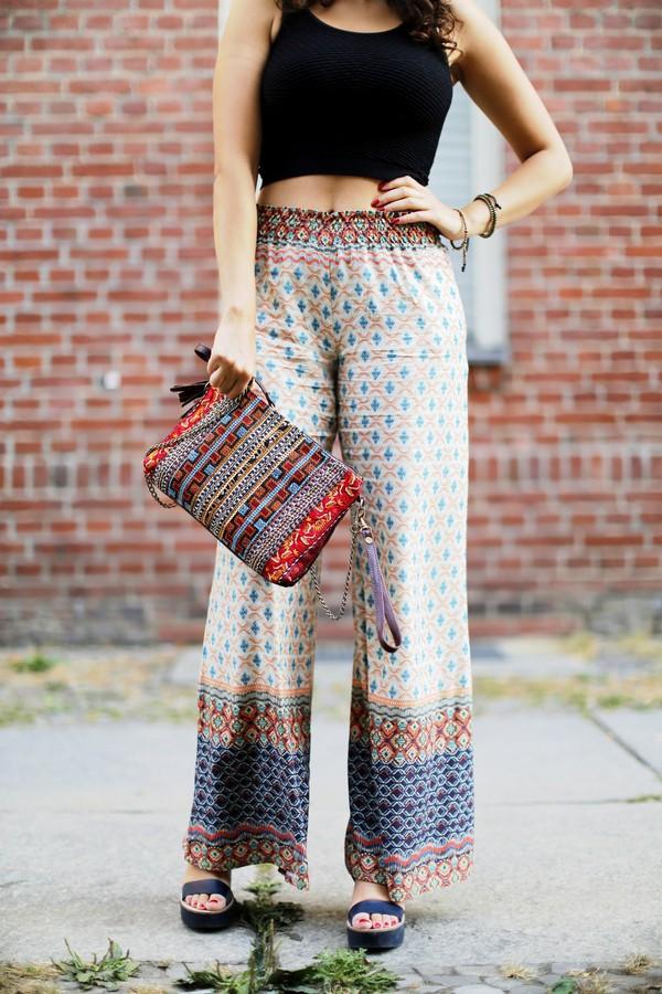 samieze blogger boho pants printed pants boho bag wide-leg pants