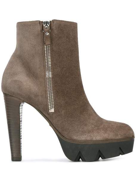 93b441c3b253 Vic Matie zipped ankle boots in brown - Wheretoget