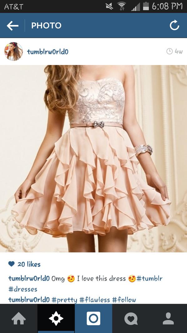 pink dress prom dress short strapless dress