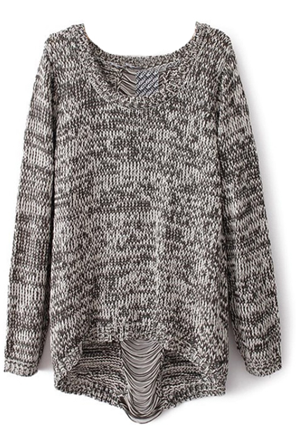 ROMWE | Distressed Asymmetric Grey Jumper, The Latest Street Fashion