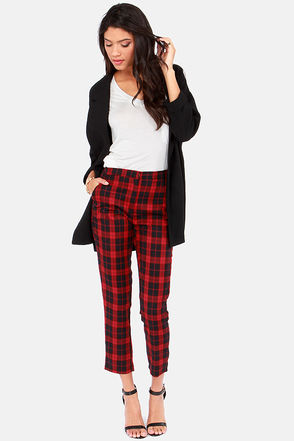 Cute Plaid Pants - Red Pants - Black Pants - Slouch Pants - Harem Pants - $49.00