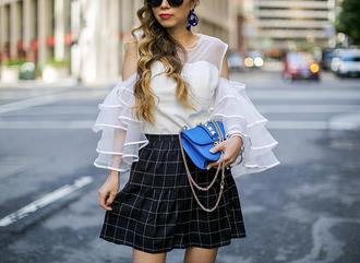 skirt checkered skirt ruffle skirt blouse cut-out blouse ruffle sleeves clutch earrings blogger blogger style