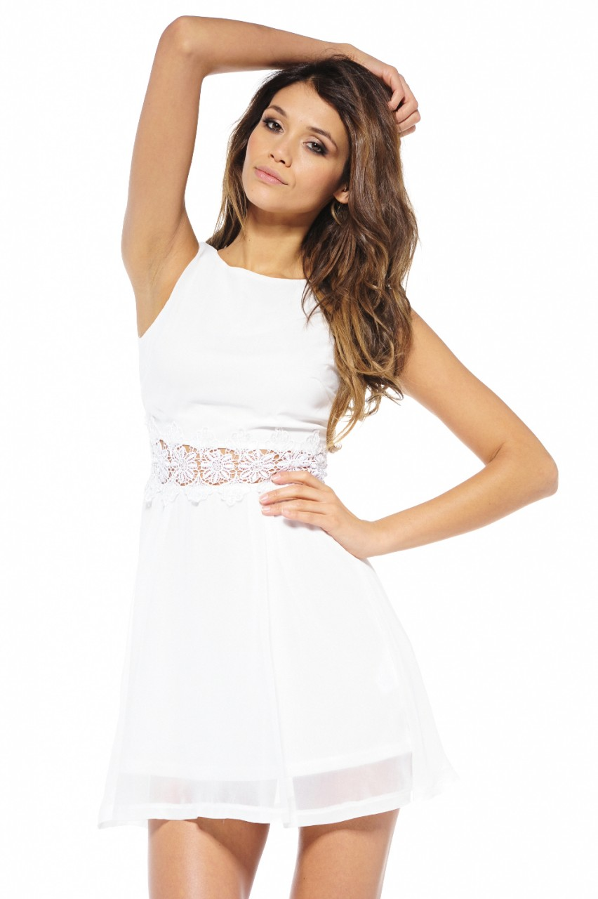 Cream sequin waist chiffon sleeveless
