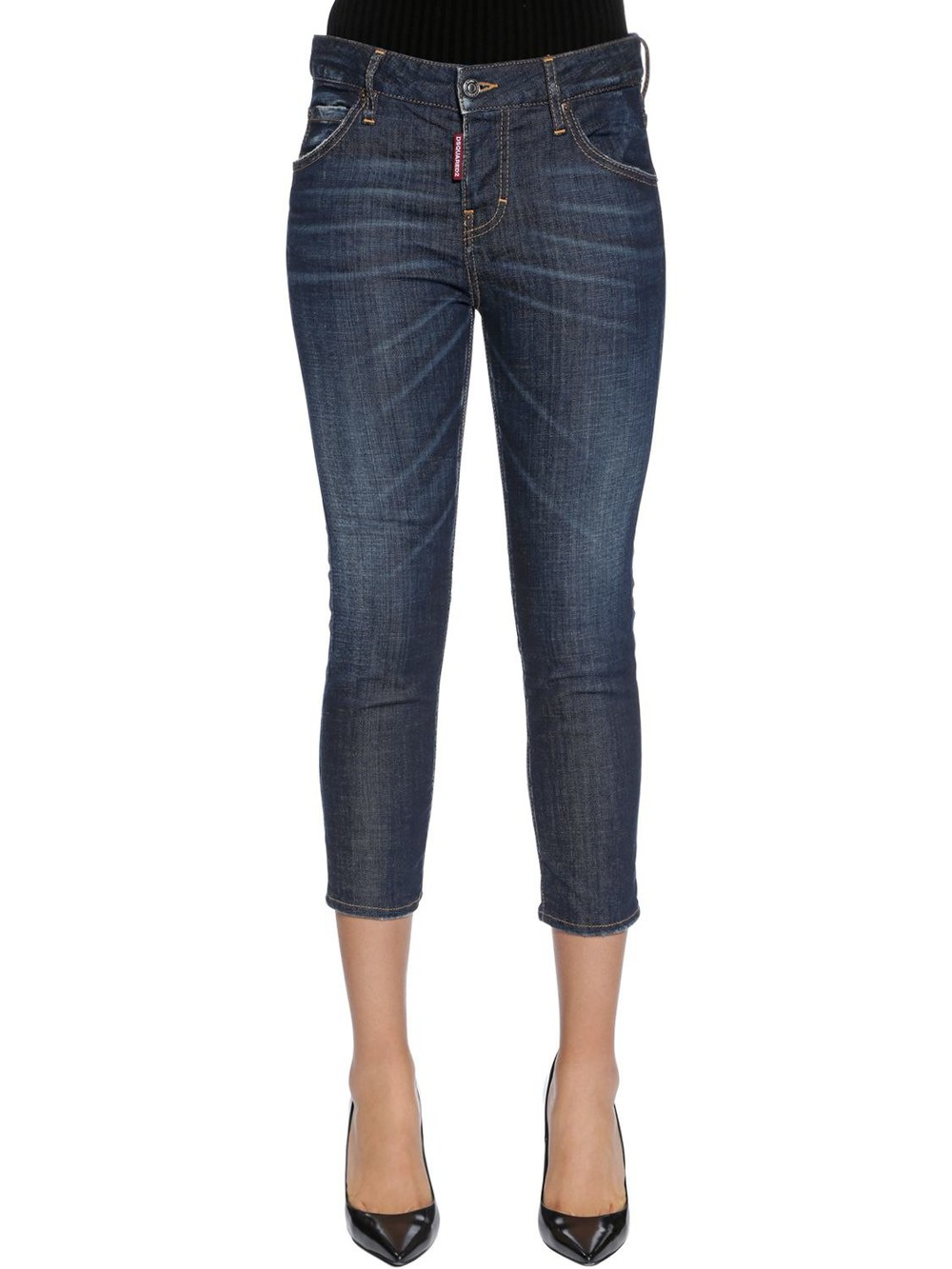 DSQUARED2 Cool Girl Cropped Cotton Denim Jeans in blue