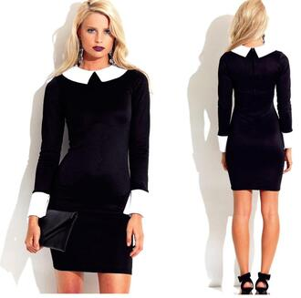 dress peter pan collar bodycon dress fitted party outfits cuff