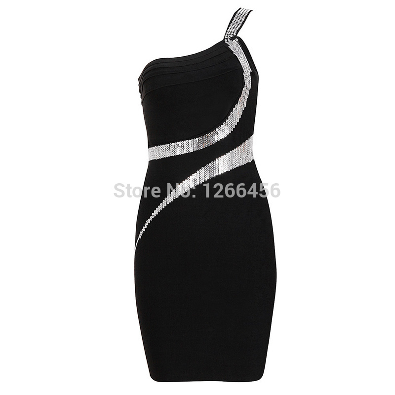Aliexpress.com : Buy Newest Women One Shoulder Bandage Bodycon Dress Black With Sequined High Quality Free Shipping H976 from Reliable dresses fabric suppliers on Lady Go Fashion Shop