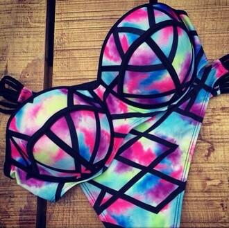 swimwear pretty pink black blue purple bikini
