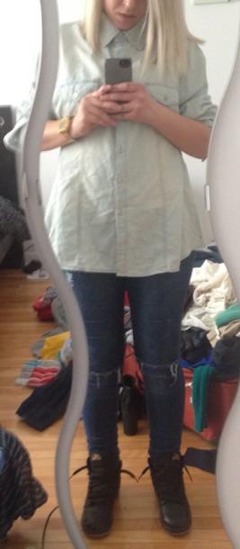 jeans denim on denim nike air jordan 1 nike air force1 denim jacket denim shirt jeans ripped jeans pants top style nike running shoes forever 21 shirt
