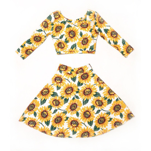 Sunflower Two Piece Skater Skirt and Crop Top – #NYLONshop
