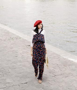 pants hat tumblr floral floral pants top matching set white top beret