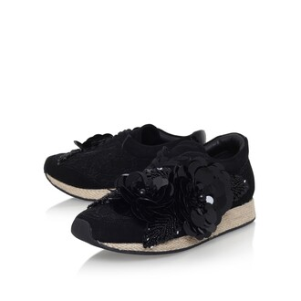 shoes embellished sneakers fancy sneakers sneakersg embellished floral embellished flowers black sneakers kurt geiger carvela girly sequins miss kg