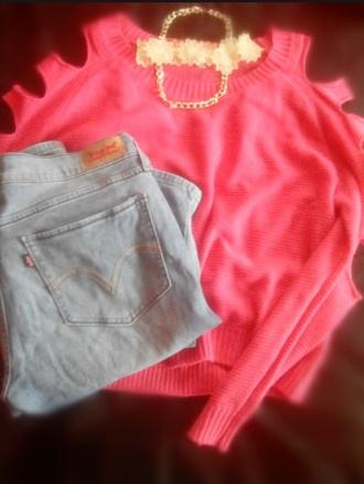 sweater coral blouse 90s style 90's fashion flowers boho necklace flower necklace necklace jeans karenaguilera