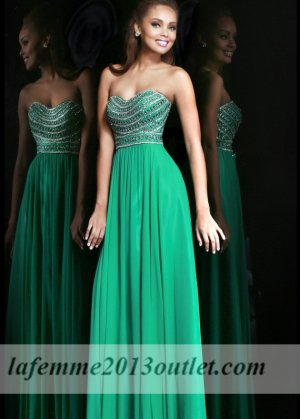 2014 Emerald Chiffon Sparkly Top Long Prom Dresses [cheap long prom dresses] - $172.00 : Cheap La Femme Dresses, La Femme Dresses On Sale