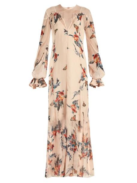 dress maxi dress maxi chiffon print silk beige