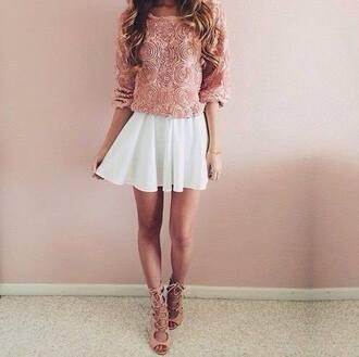 sweater white dress high heels roses pink dress