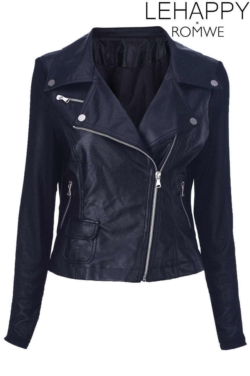 Romwe Black Different Material Stitching Jacket The