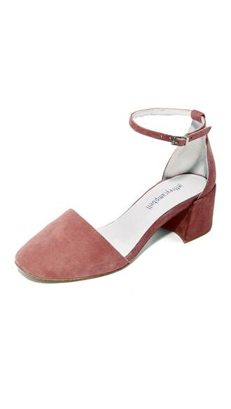 dark heels pink shoes