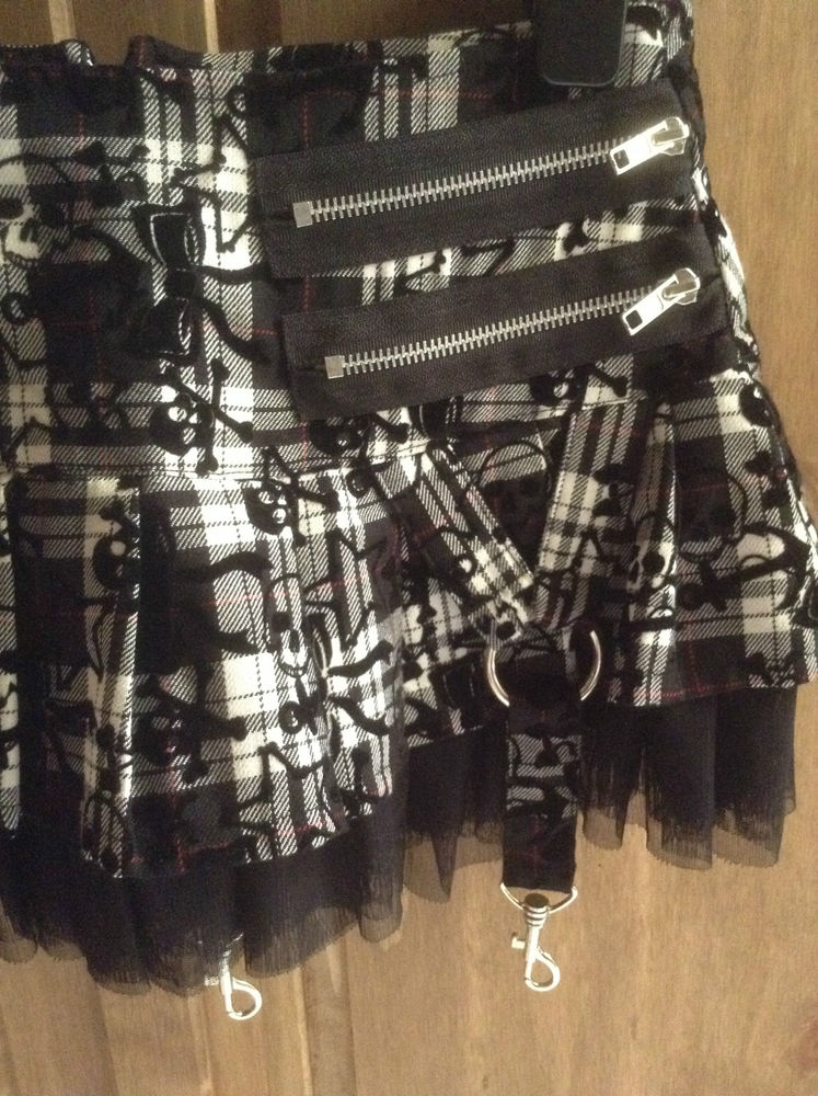 Hell Bunny Mercy Black White Red Plaid Skirt Mesh O Ring Zip skulls Grunge