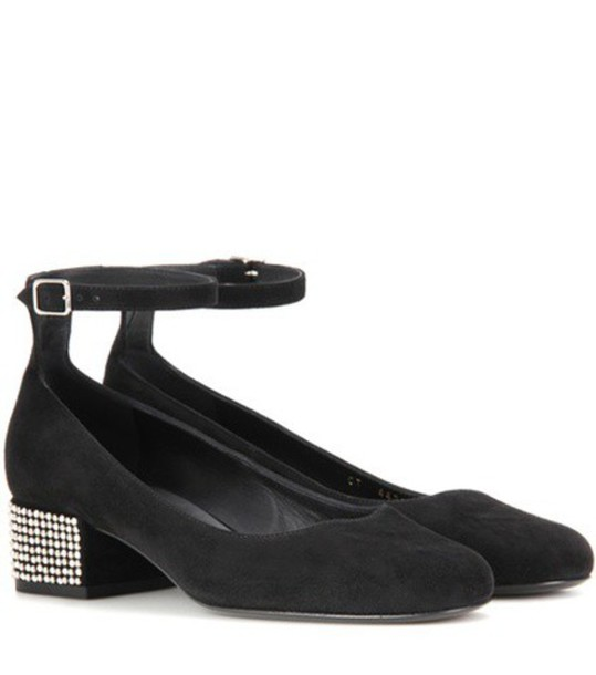 Saint Laurent Babies 40 Embellished Suede Pumps in black