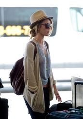 sweater,cardigan,cream cardigan,loose cardigan,t-shirt,audrina patridge,crop tops,glasses,bag,hat,beige cardigan,tank top,sunglasses,fedora,backpack,jewels,clothes,light brow cardigan
