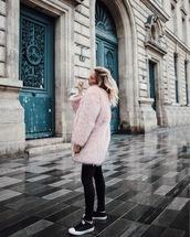 coat,tumblr,pink coat,fur coat,faux fur coat,big fur coat,leggings,black leggings,sneakers,black sneakers,low top sneakers