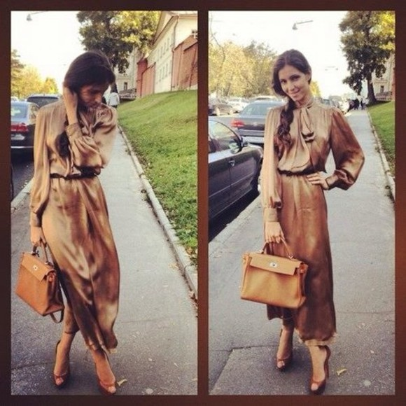 dress brown dress elegant dress classy chic