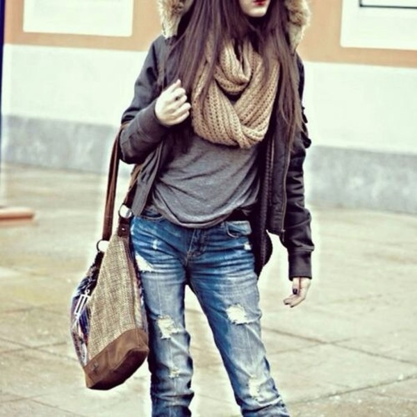 jacket scarf shirt bag jeans