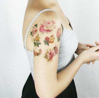 jewels fake tattoos flowers cute tattoo